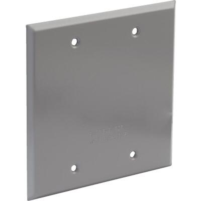 Bell 2-Gang Rectangular Aluminum Gray Blank Weatherproof Outdoor Box Cover