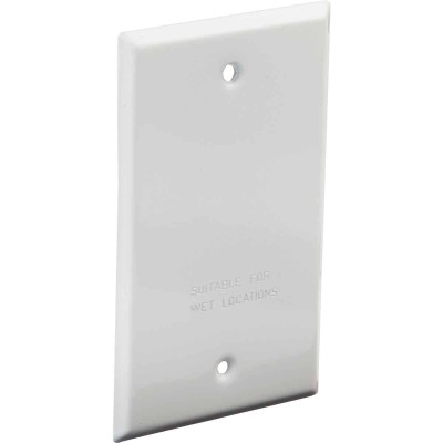 Bell Single Gang Rectangular Die-Cast Metal White Blank Outdoor Box Cover, Shrink Wrapped