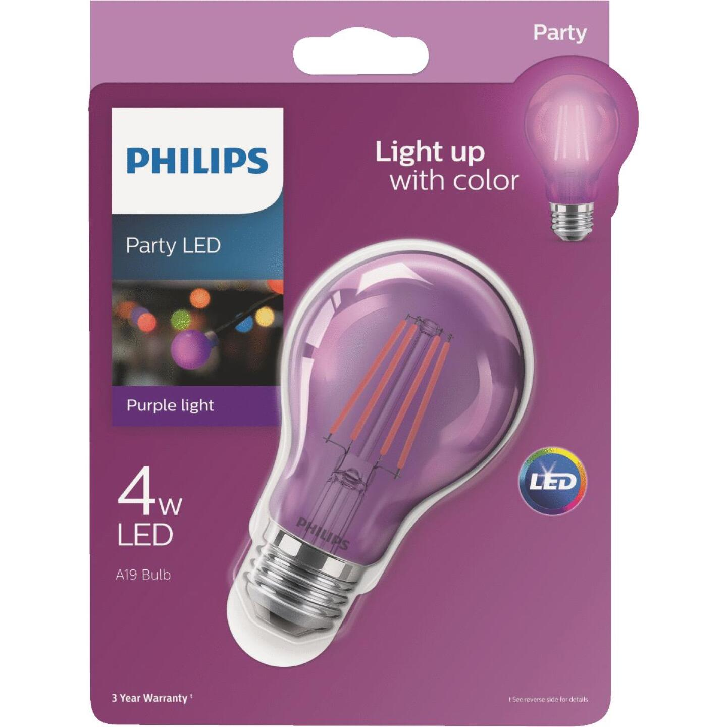 Philips Purple A19 Medium 4W Indoor/Outdoor LED Decorative Party Light Bulb Image 1