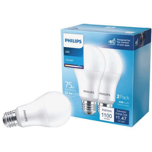 Philips 75W Equivalent Daylight A21 Medium LED Light Bulb (2-Pack)