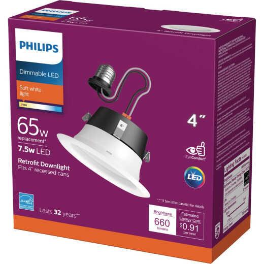 Philips 4 In. Retrofit White LED Recessed Light Kit, Soft White