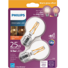 Philips Warm Glow 25W Eqivalent Soft White G16.5 Medium Dimmable LED Decorative Light Bulb (2-Pack) Image 1