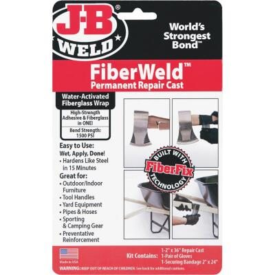 J-B Weld FiberWeld Permanent Repair Cast 2 In. x 36 In. Black Fiberglass Wrap