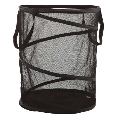 Honey Can Do 23 In. x 18-1/2 In. Dia. Black Mesh Pop Open Hamper