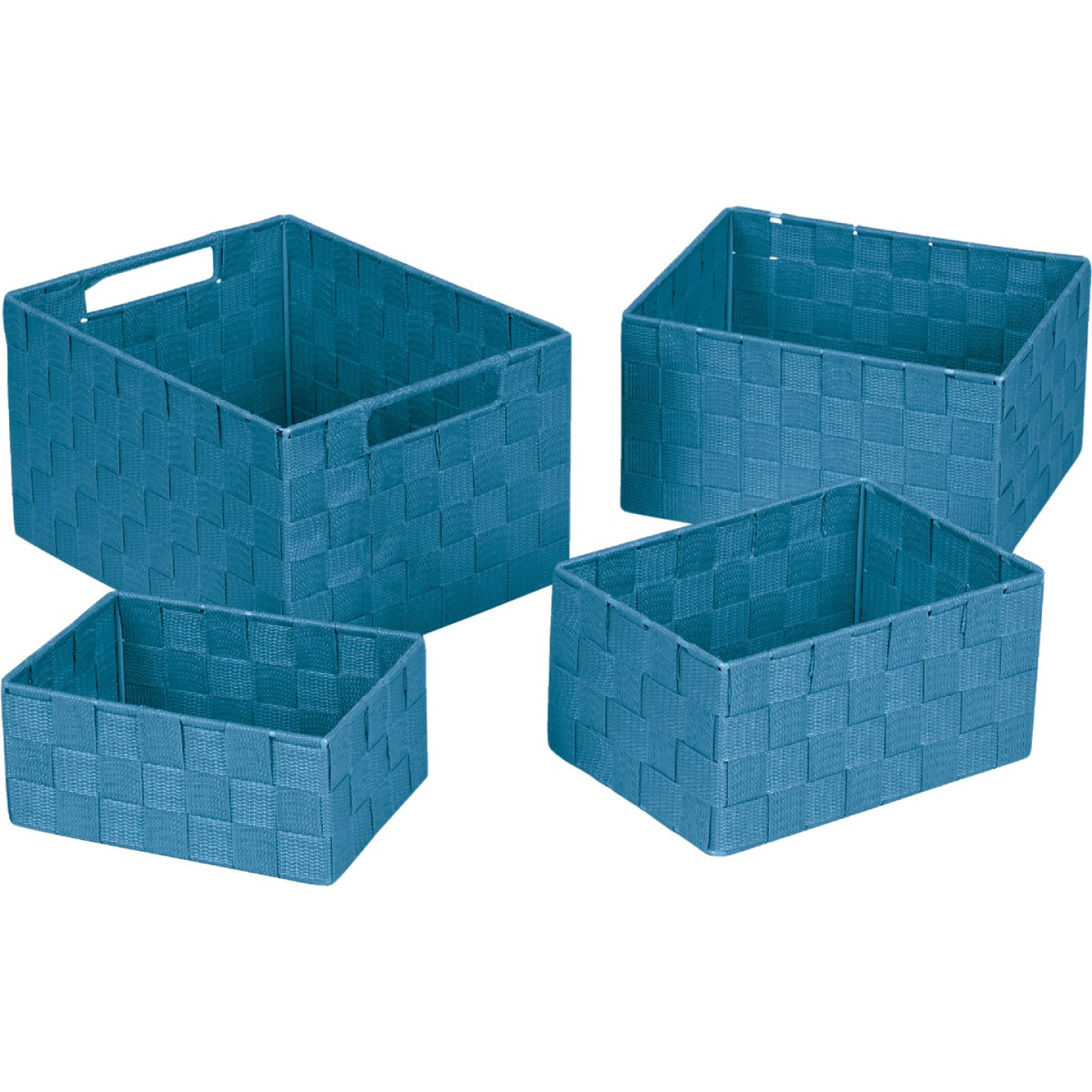 Home Impressions 4-Piece Woven Storage Basket Set, Blue Image 1