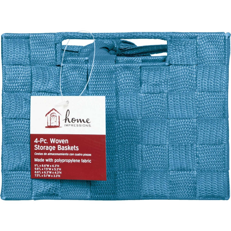 Home Impressions 4-Piece Woven Storage Basket Set, Blue Image 2