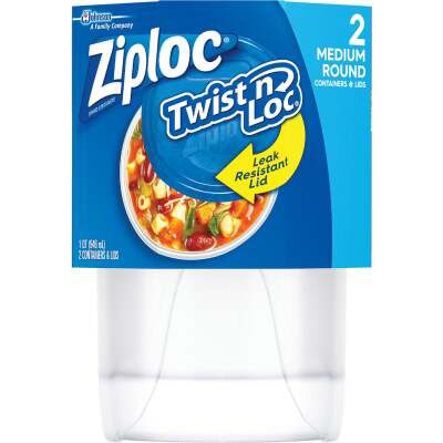 Ziploc Twist 'n Loc 1 Qt. Clear Round Food Storage Container with Lids (2-Pack)
