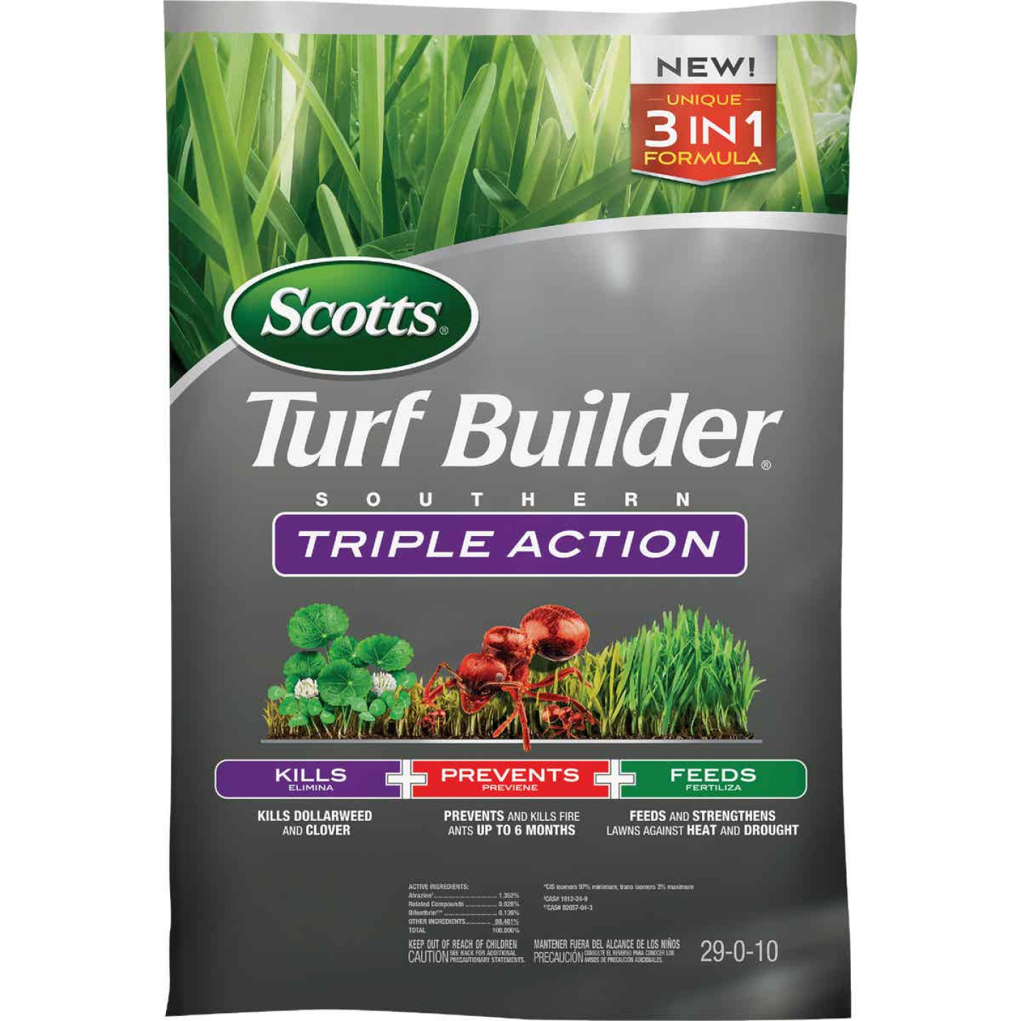 Scotts Turf Builder Southern Triple Action 26.84 Lb. 8000 Sq. Ft. Lawn Fertilizer with Weed Killer Image 1