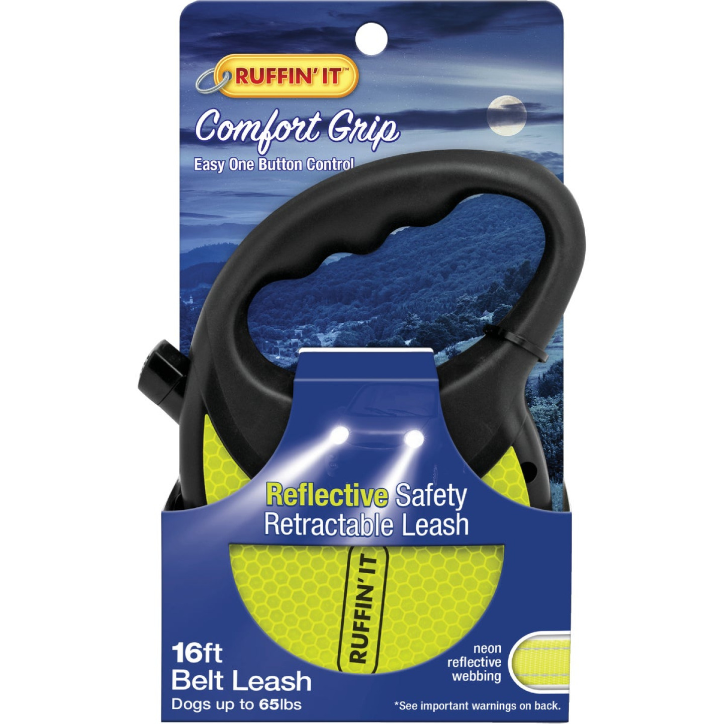 Westminster Pet Ruffin' it 16 Ft. Webbed Reflective Neon Yellow Up to 50 Lb. Dog Retractable Leash Image 1