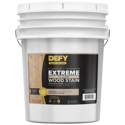 DEFY Extreme Transparent Exterior Wood Stain, Crystal Clear, 5 Gal.