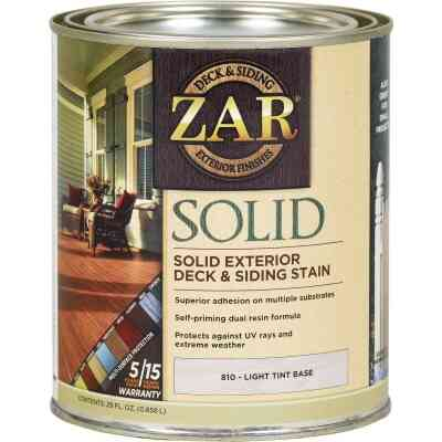 ZAR Solid Deck & Siding Stain, Light Tint Base, 1 Qt.