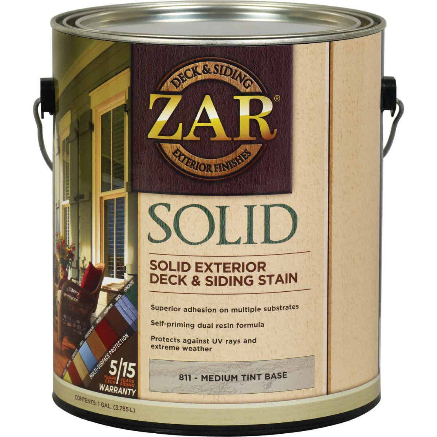 ZAR Solid Deck & Siding Stain, Medium Tint Base, 1 Gal. Image 1