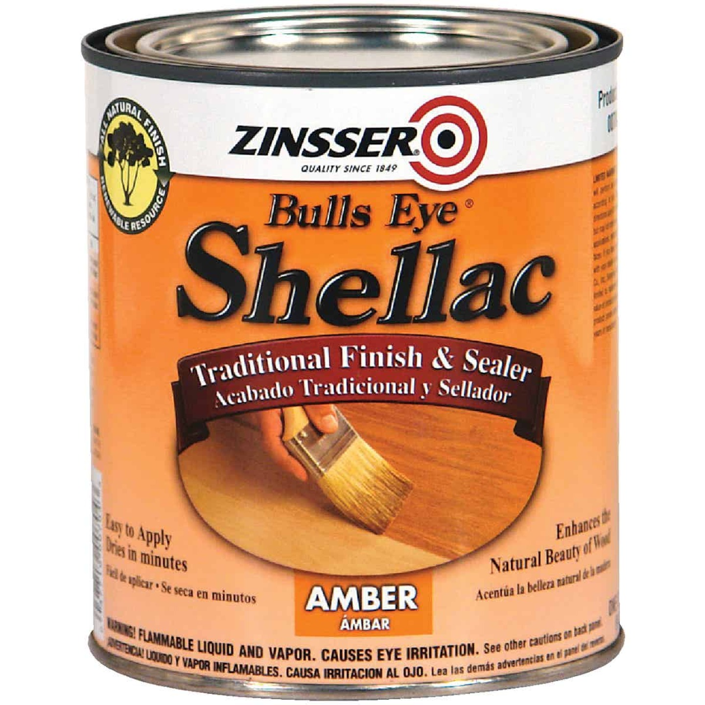 Zinsser Bulls Eye Amber Shellac, Quart Image 1