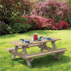 Outdoor Essentials 6 Ft. Pressure-Treated Wood Picnic Table with Benches Image 2